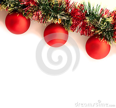 Christmas garland on the white background