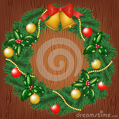 Christmas garland on wood background
