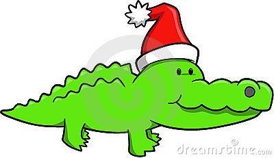 Christmas Gator Vector
