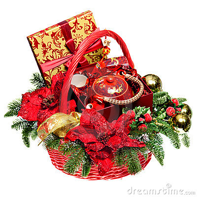 Free Christmas Gift Basket On White Background Royalty Free Stock Image - 22410916