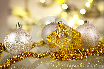 Christmas gift and baubles