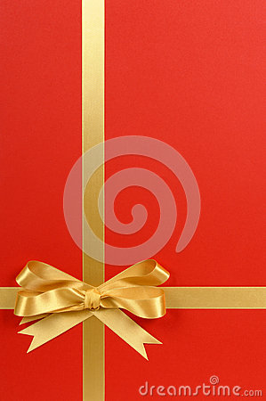 Christmas Gift Border Frame With Gold Ribbon Bow Red Background Vertical Stock Photo