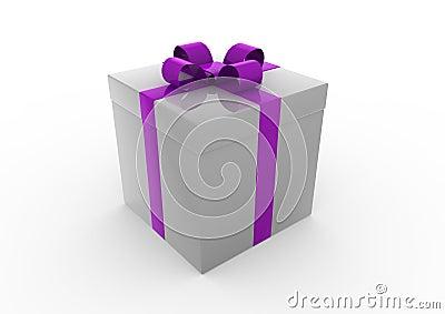 Christmas Gift Box Gray Purple Stock Photography Image