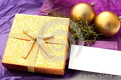 Christmas gift with card for text