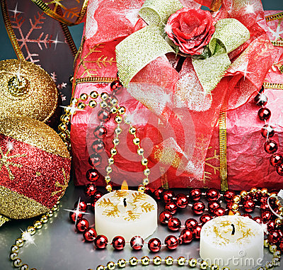 Christmas gift and different decorations