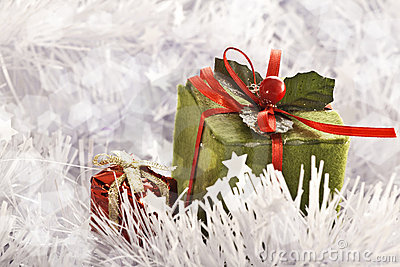 Christmas gift in Freezing Cold Winter Background