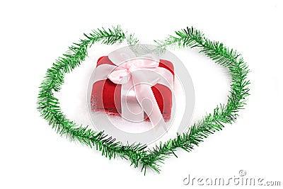 Christmas gift on love border