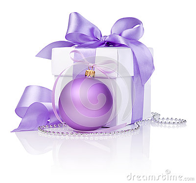 Christmas gift with Purple Ball and ribbon bow