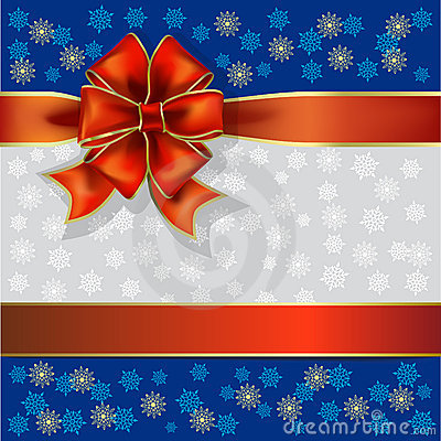 Christmas gift ribbon and snowflakes