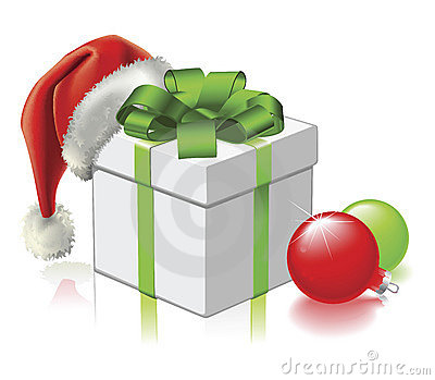 Christmas gift with Santa Hat and Baubles