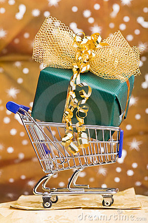 Christmas gift in shopping cart