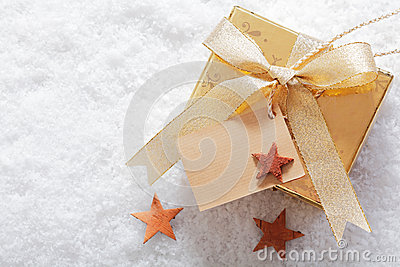 Christmas gift in winter snow