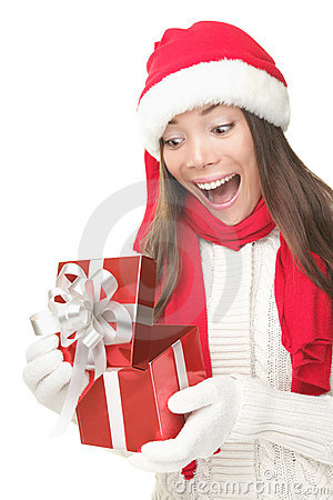 Free Christmas Gift Woman Opening Present Surprised Stock Photography - 16123392