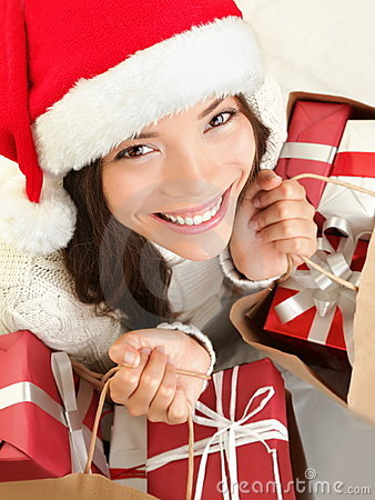 Christmas gift woman shopping