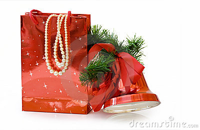 Christmas gifts bag with clipping path