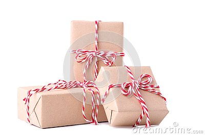 Christmas gifts presents isolated on a white background. Stock Photo