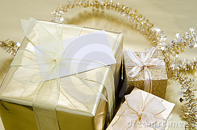 Christmas Gifts Wrapped in Gold