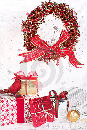 Christmas gifts, wreath, ornaments