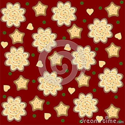 Christmas ginger seamless pattern vector