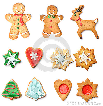 Free Christmas Gingerbread Cookies Collection Set Royalty Free Stock Image - 34468256
