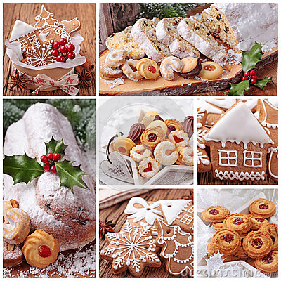 Christmas gingerbread cookies and stollen cake Stock Photo