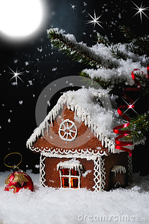 Free Christmas Gingerbread House In The Starry Night. Stock Photo - 46746850