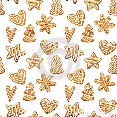 Free Christmas Gingerbread Seamless Pattern. Ginger Cookies On Blue Background. Watercolor Illustration. Cute Xmas Background For Wallp Royalty Free Stock Photos - 129926728