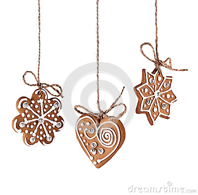 Free Christmas Gingerbreads Hanging Stock Photo - 31334260