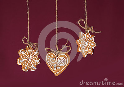 Christmas gingerbreads hanging