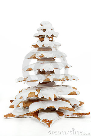 Christmas gingerbreads tree on white background