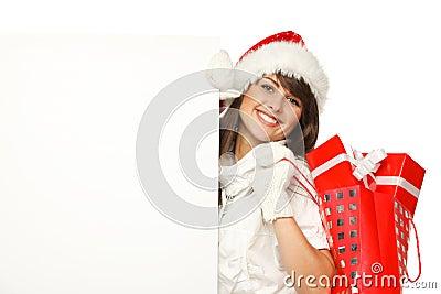 Christmas girl with billboard