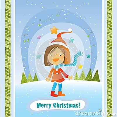 Christmas girl card