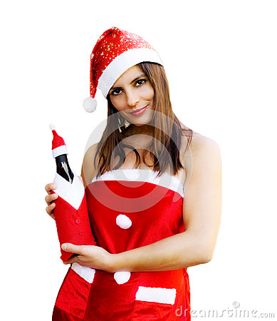 Christmas girl with champagne bottle