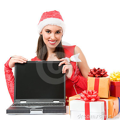 Christmas girl with empty display