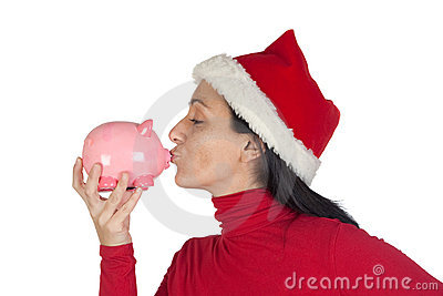 Christmas Girl giving a kiss piggy-bank