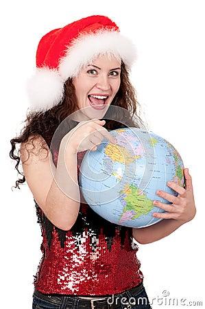 Christmas girl with globe