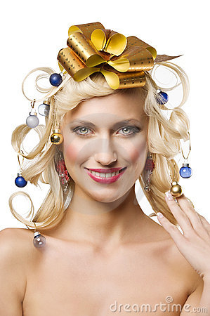 Christmas girl with golden bow