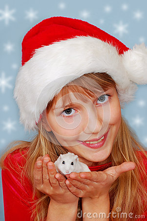 Christmas girl with hamster
