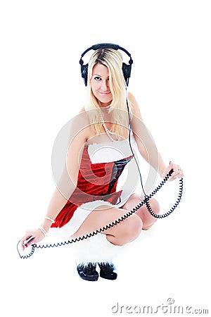 Christmas girl in headphones