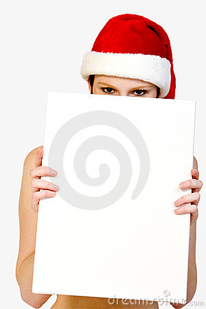 Christmas girl holding up a white sign