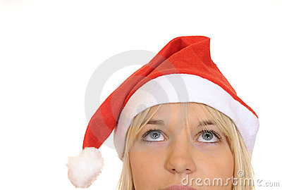 Christmas girl looking up