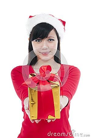Christmas Girl Presenting Gift