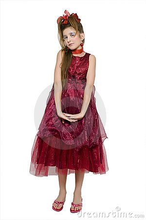 Christmas Dress on Christmas Teenage Girl In Gorgeous Red Dress Holding A Present