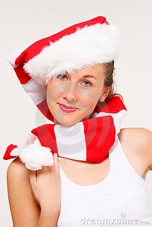 Christmas girl in santa hat