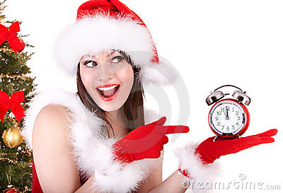 Christmas girl in santa hat and fir tree,  clock.