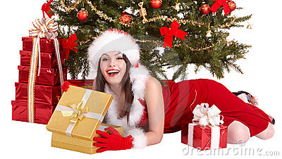 Christmas girl in santa hat, fir tree, gift box .