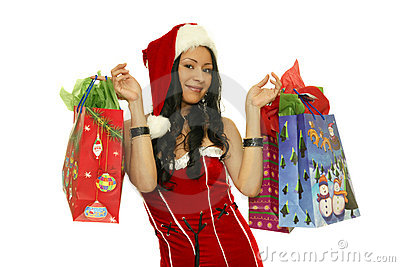 Christmas girl with shopping bags