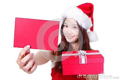 Christmas girl showing red xmas card