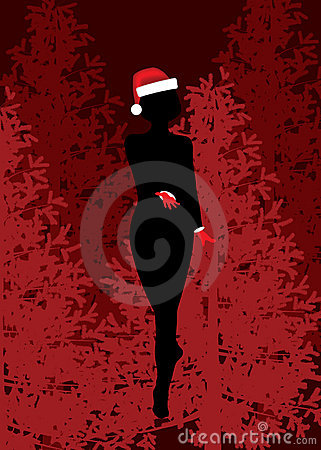 Christmas girl silhouette.