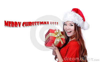 Christmas Girl Smile Holding Gift Box